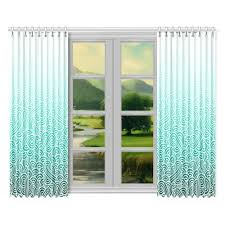 Ombre Window Curtains Ombre Turquoise Blue And White Swirls Doodles Window Curtain 52