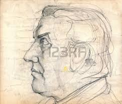 hand drawing picture pencil an old man face stock photo picture
