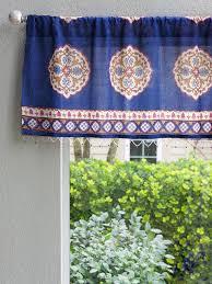 Blue Valances Window Treatments Blue Valance Moroccan Valance Vintage Valance Treatment Sheer