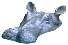 spitting hippo cast bronze garden statue contemporary