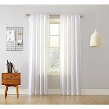 63 White Curtains Rod Pocket Curtains