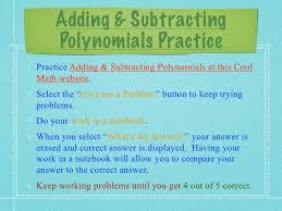 module 9 topic 1 adding u0026 subtracting polynomials