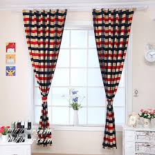 chic beautiful living room beige dark blue and red plaid curtains