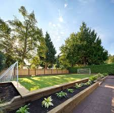 wood planter designs landscape transitional with soccer field