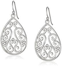 silver teardrop earrings sterling silver filigree teardrop earrings jewelry