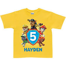 personalized paw patrol pawesome birthday yellow boys u0027 shirt