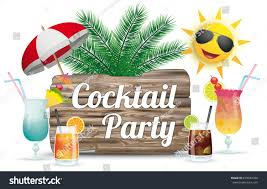 cocktails sun sunshade wooden board text stock vector 678942598