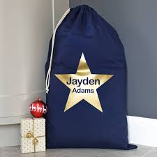Gold Star Flag Personalised Metallic Gold Star Navy Christmas Sack By A Type Of