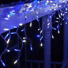 cool white icicle lights 70 m5 led icicle lights blue white white wire yard envy