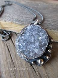 silver necklace with gemstone images Artisan metalsmith sterling silver gray druzy gemstone women 39 s jpg