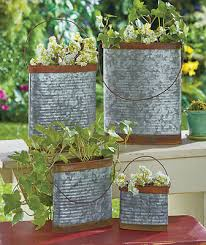 rustic metal planters galvanized herb flower garden containers