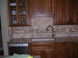 kitchen travertine subway tile kitchen backsplash with a mosaic