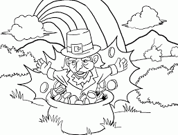 rainbow pot of gold coloring pages leprechaun in pot of gold coloring page coloring com