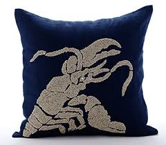 theme pillows navy blue decorative pillow covers beaded lobster sea creatures