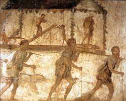 ancient roman fresco known as the procession of carpenters