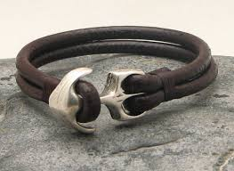 leather bracelet with anchor images Fast shipping anchor bracelet men 39 s bracelet leather brown jpg