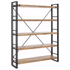indira acacia wood and metal wide bookcase by scandinavian