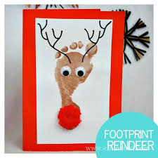 reindeer footprint cards all you need is a shiny nose