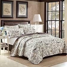 100 Cotton Queen Comforter Sets Amazon Com Textile 3 Piece Quilted Bedspread Coverlet Set