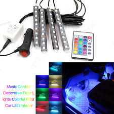 Color Interior Lights For Cars 4 X 9 Led Bluetooth Multi Colour Car Footwell Interior Lighting