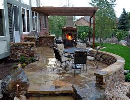 living room flagstone patio with stone fireplace and outdoor flagstone patio with stone fireplace and outdoor kitchen stone fireplace design ideas