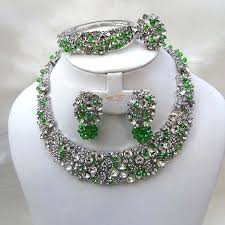 green crystal necklace set images Custom made crystal set with swarovski element crystal green beads jpg