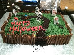 halloween graveyard cake i made for a party the dirt is oreos