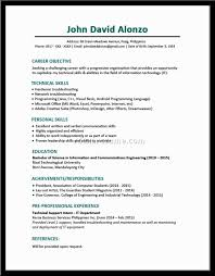 sample resume for a fresh graduate best curriculum vitae for fresh graduate good resume objective