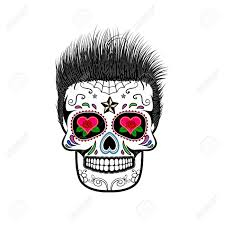 sugar skull with hair the day of the dead the template for