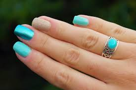 fashion infatuation mixed turquoise nail polish design with studs