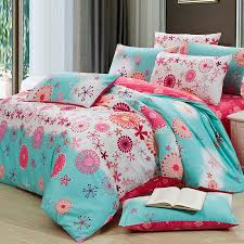 Coral And Teal Bedding Sets Aqua Blue And Coral Fashion Abstract Flower Print