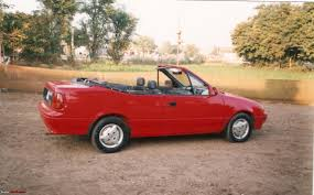 maruti 1000 modified to a convertible 2 door with manual soft top