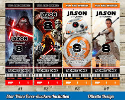 star wars force awakens invitation for birthday party ticket