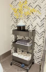 small bathroom storage idea ikea raskog cart chevron marble