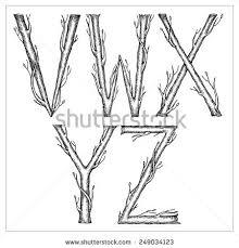 hand drawn cursive font form tree stock vector 249034123