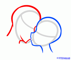 how to draw a valentines couple anime kiss step by step