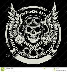 vintage halloween skeleton vintage biker skull with wings and pistons emblem stock vector