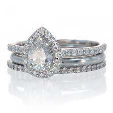 wedding ring bridal set shape 7x5 halo engagement ring bridal wedding set
