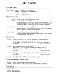 Free And Easy Resume Templates
