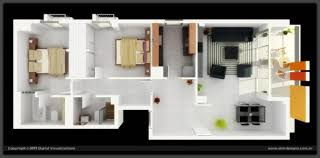 Long Narrow House Floor Plans Long Narrow 2 Bedroom 3d Floor Plan With Outdoor Lounge 3d