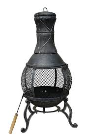 Bronze Patio Heater by Charles Bentley 89cm Large Open Bowl Mesh Cast Iron Chiminea Patio