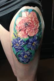 leg flower tattoos carnation and larkspur flower color thigh tattoo by monte