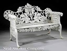 Cast Iron Loveseat An Antique Coalbrookdale Bench With Ornate Back And Sides And An