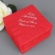 40th anniversary color custom printed 40th wedding anniversary cocktail napkins