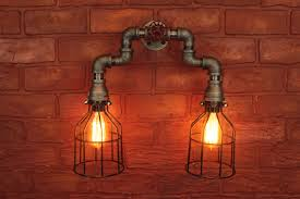 industrial bathroom lighting fixtures piping sconces