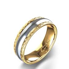 two tone wedding bands great style of engraved two tone wedding band6mm 14k two or three