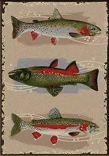 Rustic Cabin Lodge Area Rugs Fish Rug Ebay