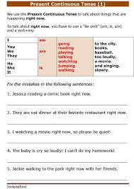 esl grammar worksheets present continuous tense 1
