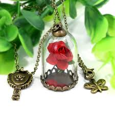 glass flower necklace images Ningxiang beauty and the beast natural red rose flower necklace jpg