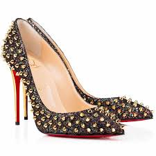 cheap christian louboutin follies spikes 100mm glitter pointed toe
